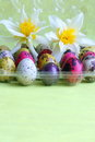 Easter card eggs with flowers stock images holiday decoration white narcissuses and plastic box colored on yellow background Stock Photo