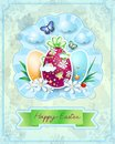 Easter card with eggs in vintage style illustration Royalty Free Stock Photos