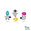 Easter card happy with funny lambs and eggs Royalty Free Stock Images