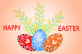 Easter card with the inscription decorated with branches of mimosa and painted eggs Royalty Free Stock Images