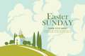 Easter card with landscape with church Royalty Free Stock Photo