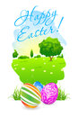 Easter card with landscape and decorated eggs grass Royalty Free Stock Photo