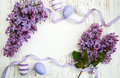 Easter card with lilac flowers Royalty Free Stock Photo