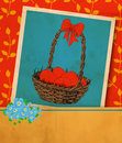 Easter card old vintage greeting hand drawn basket full of eggs ribbon and bouquet of forget me not flowers red Royalty Free Stock Images