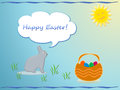 Easter card rabbit eggs and sun happy Stock Photography