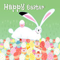 Easter card with rabbit funny greeting white on a green background eggs Stock Photography