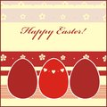 Easter card with red eggs and flowers background Royalty Free Stock Photography