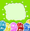 Easter card with set colorful ornate eggs Stock Image