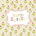Easter card template with red berry seamless pattern vector eps Stock Image