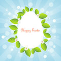 Easter card white egg with leaves border against blue bokeh backround background for Royalty Free Stock Photos
