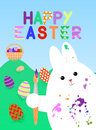 Easter card with white rabbit, smeared with paint brush in his paw. In the background lie grass colored eggs with patterns, there
