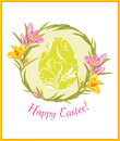 Easter card with wreath of crocuses illustration Royalty Free Stock Image