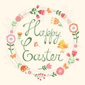 Easter card with wreath floral Royalty Free Stock Image