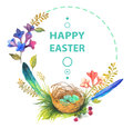 Easter card with wreath of watercolor flowers over white Stock Images