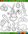 Easter cartoon themes for coloring Royalty Free Stock Image