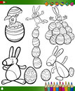 Easter cartoons for coloring book Royalty Free Stock Image