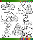 Easter cartoons for coloring book happy themes collection set of black and white cartoon illustrations with bunnies and eggs Royalty Free Stock Photo