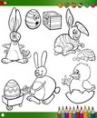 Easter cartoons for coloring book themes collection set of black and white cartoon illustrations with bunnies and chicken Royalty Free Stock Images