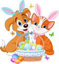 Easter Cat and Dog Royalty Free Stock Photos