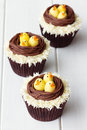 Easter chick cupcakes with an theme Royalty Free Stock Images