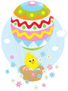Easter chick flying in a balloon little yellow chicken flies an air colored like an egg and scatters flowers around Stock Photos