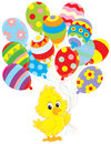 Easter chick little yellow with colorful balloons decorated like eggs Royalty Free Stock Photography