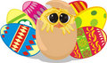 Easter chick - painting eggs Royalty Free Stock Photos