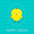 Easter chicken and dash egg dot pattern card vector illustration Royalty Free Stock Images