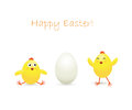Easter chicken and egg amusing chickens on white background illustration Stock Photos