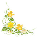 Easter chicks daffodils colorful tendril with leaves and Stock Images