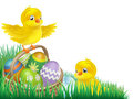 Easter chicks and egg basket Royalty Free Stock Photos