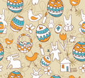 Easter Child Scribbles Seamless Background Royalty Free Stock Photos