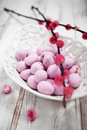 Easter chocolate pink eggs in white bowl Royalty Free Stock Images