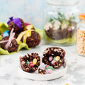 Easter Chocolate and Puffed Wheat Egg with Surprise Royalty Free Stock Photo