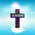 Easter christian celebration He is risen cross sky vector background Royalty Free Stock Photo