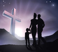 Easter christian cross family a with a in a mountain landscape and a sunrise life or concept Royalty Free Stock Photography