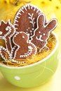 Easter ciikies gingerbread cookies in bowl Royalty Free Stock Photography