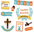 Easter clipart vintage styled elements including badges emblems decorative elements and icons Royalty Free Stock Photo