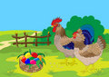 Easter cock, hen  and basket with color eggs. Stock Images