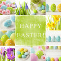 Easter collage eggs and spring flowers Stock Images