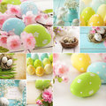 Easter collage eggs and spring flowers Royalty Free Stock Images