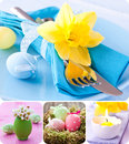 Easter collage with eggs and table setting Stock Image