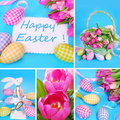 Easter collage in pastel colors with eggs basket decorations and fresh tulips Stock Image