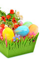Easter colored cloth eggs roses flowerbed isolated white background Stock Photo