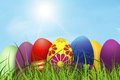 Easter colored eggs, background wallaper Royalty Free Stock Photo