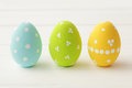 Easter colorful decorated eggs on wooden background Royalty Free Stock Image
