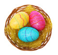Easter colorful eggs basket isolated white Stock Photos