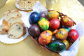 Easter colorful eggs and festive cake for Royalty Free Stock Image