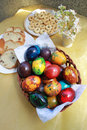 Easter colorful eggs and festive cake for Royalty Free Stock Images