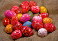 Easter colorful eggs gunny background Stock Photos